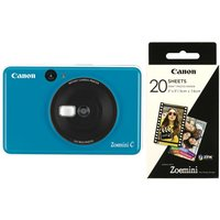 "Canon Zoemini C Instant Camera & Zoemini 2 x 3"" Glossy Photo Paper Bundle - Blue,"