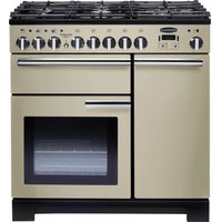 RANGEMASTER Professional Deluxe 90 Dual Fuel Range Cooker - Cream & Chrome, Cream
