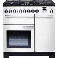 RANGEMASTER Professional Deluxe 90 Dual Fuel Range Cooker - White & Chrome, White