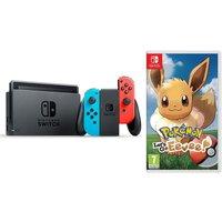 NINTENDO Switch Neon Red and Pokemon: Lets Go, Eevee! Bundle, Neon