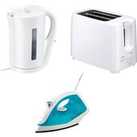 CURRYS ESS C12IR13 Steam Iron, C17JKW17 Jug Kettle & C02TW17 2-Slice Toaster Bundle - White, White