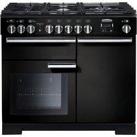 RANGEMASTER Professional Deluxe 100 Dual Fuel Range Cooker - Black and Chrome, Black