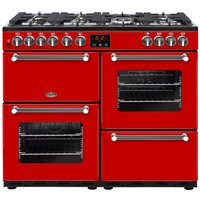 BELLING Kensington 100DFT Dual Fuel Range Cooker - Red and Chrome, Red