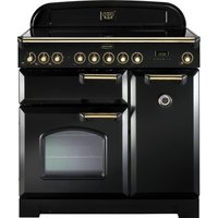 RANGEMASTER Classic Deluxe 90 Electric Induction Range Cooker - Black and Brass, Black