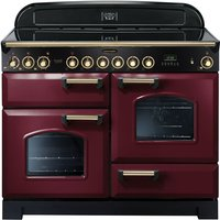 Rangemaster Classic Deluxe 110 Electric Ceramic Range Cooker - Cranberry and Brass, Cranberry