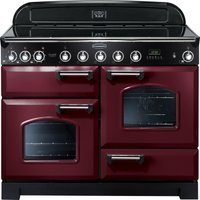 RANGEMASTER Classic Deluxe 110 Electric Induction Range Cooker - Cranberry & Chrome, Cranberry