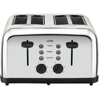 Buy LOGIK L04TC14 4-Slice Toaster - Silver & Cream, Silver - Currys PC World