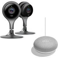 NEST Cam Twin-Camera Home Security Kit & Home Mini Bundle
