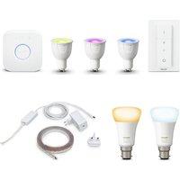 Philips Hue White & Colour Gu10 Starter Kit, Lightstrip Plus & B22 Wireless Bulb Bundle, White