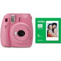 INSTAX mini 9 Instant Camera & Mini Film 50 Shot Bundle - Blush Rose, Pink