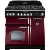 RANGEMASTER Classic Deluxe 90 Dual Fuel Range Cooker - Cranberry and Chrome, Cranberry