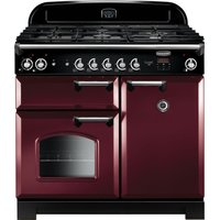 Rangemaster Classic CLA100DFFCY/C 90 cm Dual Fuel Range Cooker - Cranberry and Chrome, Cranberry