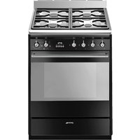SMEG SUK61MBL9 60 cm Dual Fuel Cooker - Black and Stainless Steel, Stainless Steel