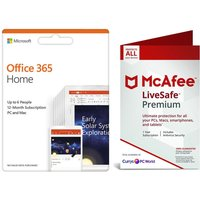 MICROSOFT LiveSafe Premium 2019 for Unlimited Devices & Office 365 Home for 5 Users Bundle - 1 year