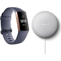 FITBIT Charge 3 & Google Chalk Nest Mini (2nd Gen) Bundle - Blue Grey & Rose Gold, Universal, Blue