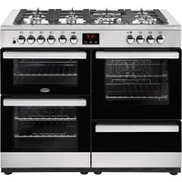 BELLING Cookcentre 110DF Dual Fuel Range Cooker - Black and Stainless Steel, Stainless Steel