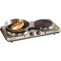 DAEWOO SDA1732 Double Electric Hot Plate - Silver, Silver