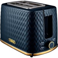 TOWER Empire Collection T20054MNB 2-Slice Toaster – Midnight Blue, Blue.