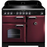 Rangemaster Classic Deluxe 100 Electric Induction Range Cooker - Cranberry and Chrome, Cranberry