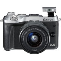 CANON EOS M6 Mirrorless Camera with 15-45 mm f/3.5-6.3 Wide-angle Zoom Lens - Silver, Silver