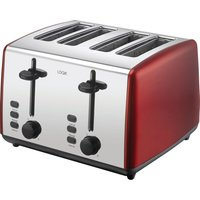 L04TR19 4-Slice Toaster - Red & Silver, Red
