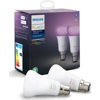 Philips Hue White & Colour Ambiance Bluetooth LED Bulb - B22, Twin Pack, White
