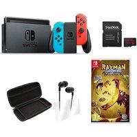Nintendo Switch, Game & Accessories Bundle, Neon