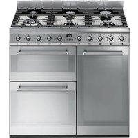 SMEG Symphony SY93 90 cm Dual Fuel Range Cooker - Stainless Steel, Stainless Steel