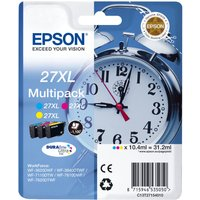 EPSON Alarm Clock 27XL Cyan, Magenta & Yellow Ink Cartridges - Multipack, Cyan