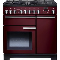 RANGEMASTER Professional Deluxe 90 Dual Fuel Range Cooker - Cranberry and Chrome, Cranberry