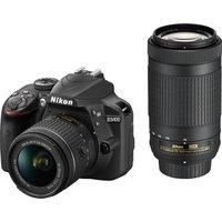 NIKON D3400 DSLR Camera with DX 18-55 mm f/3.5-5.6G & DX 70-300 mm f/4.5-6.3G ED Lens - Black, Black sale image