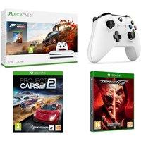 MICROSOFT Xbox One S, Forza Horizon 4, Tekken 7, Project Cars 2 & Wireless Controller Bundle, Snow