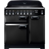 RANGEMASTER Elan Deluxe ELA90EIBL 90 cm Electric Induction Range Cooker - Black and Chrome, Black