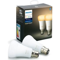 Philips Hue White Ambience Bluetooth LED Bulb - Twin Pack, B22, White