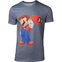 'Nintendo Super Mario Odyssey Mario & Cappy T-shirt - Xl, Grey, Grey