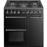 SMEG BM93BL 90 cm Dual Fuel Range Cooker - Black & Stainless Steel, Stainless Steel