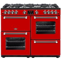 BELLING Kensington 100G Gas Range Cooker - Red and Chrome, Red