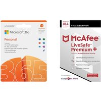 MICROSOFT 365 Personal (1 year for 1 user  3 Months Extra Time) & LiveSafe Premium (1 year for unlimited devices) Bundle