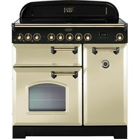 Rangemaster Classic Deluxe 90 Electric Induction Range Cooker - Cream and Brass, Cream