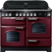 Rangemaster Classic Deluxe 110 Electric Ceramic Range Cooker - Cranberry and Chrome, Cranberry