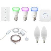 Philips Hue White & Colour Ambiance E27 Starter Kit, Lightstrip Plus & White Ambiance E14 Bulb Twin Pack Bundle, White