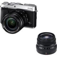 Fujifilm X-e3 Mirrorless Camera, Xf 18-55 Mm F/2.8-4 R Lm Ios Lens & Fujinon Xf 35 Mm F/2.0 R Wr Standard Prime Lens Bundle - Silver, Silver