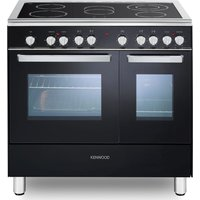 CK418 90 cm Electric Ceramic Range Cooker - Black & Chrome, Black