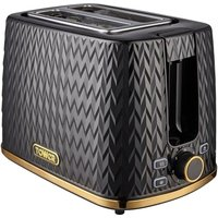 TOWER Empire Collection T20054BLK 2-Slice Toaster – Black, Black.