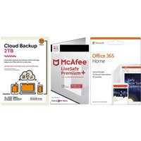 MCAFEE LiveSafe Unlimited Devices, Microsoft Office 365 6 Users & Knowhow 2 TB Cloud Backup Bundle - 1 year.