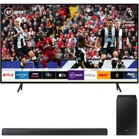 "65"" Samsung QE65Q60RATXXU  Smart 4K Ultra HD HDR QLED TV with Bixby & HW-R450 2.1 Wireless Sound Bar Bundle, Black"