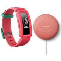 FITBIT Ace 2 Kid's Fitness Tracker & Nest Mini (2nd Gen) Coral Bundle - Watermelon & Teal, Coral