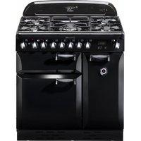 Rangemaster Elan 90 Dual Fuel Range Cooker - Black, Black