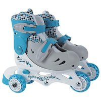 Click to view product details and reviews for Moovngo Blue 3 Wheel Roller Skates.