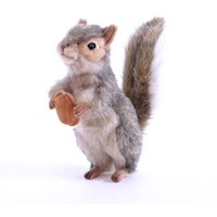 Hansa Toys 20cm Standing Grey Squirrel With Nut Soft Toy - Toys Gifts